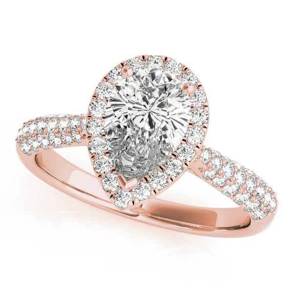 Glamorous Pear Shaped Halo Engagement Ring Triplet Side Stones