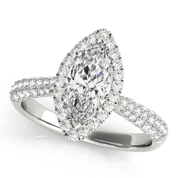 Marquise Engagement Ring Marquise Diamond Halo & Side Stones