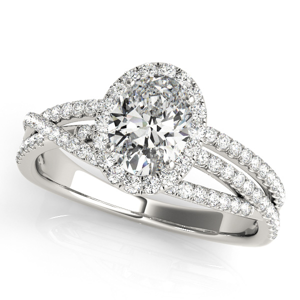 Oval Cut Engagement Ring Split Shank & Rows of Side Stones