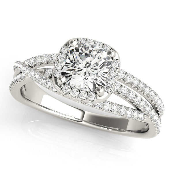 Cushion Cut Engagement Ring with Split Shank & Diamond Halo