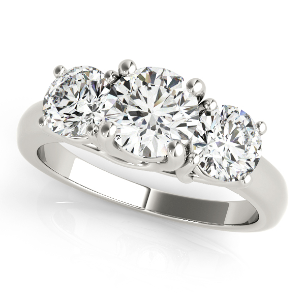 Unequaled Traditional Trellis Three Stone Engagement Ring