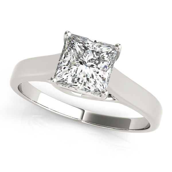 Princess Cut Solitaire Engagement Ring with Trellis Setting