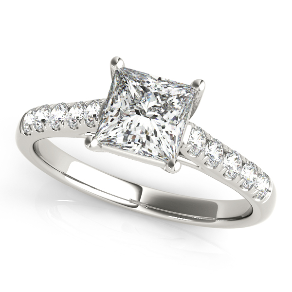 Stylish Trellis Crown Diamond Engagement Ring with Side Stones