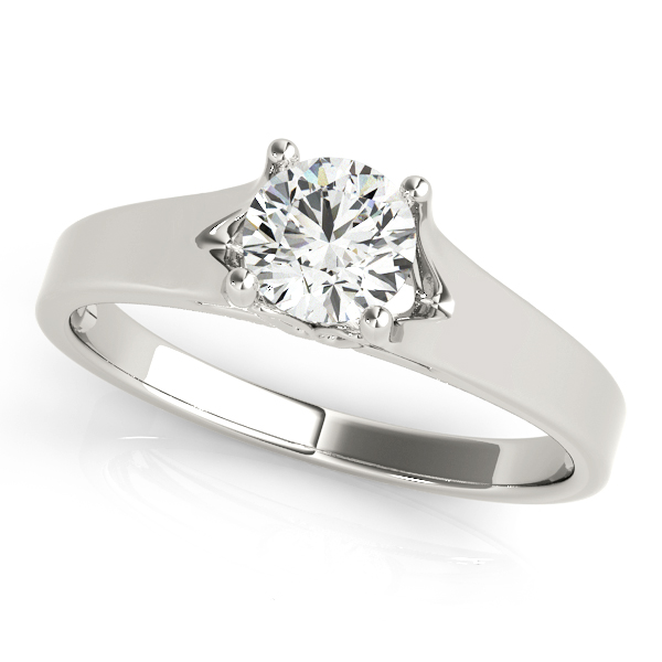 Modern V-Neck Design Solitaire Diamond Engagement Ring