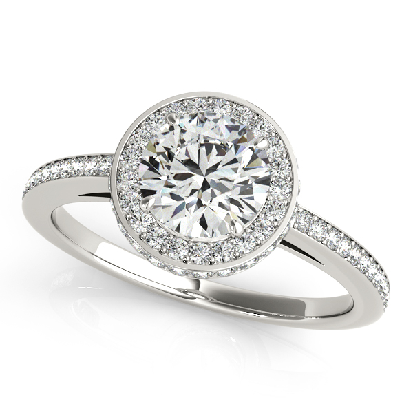 Modish Duet Halo Engagement Ring with Accent Diamond Bridge