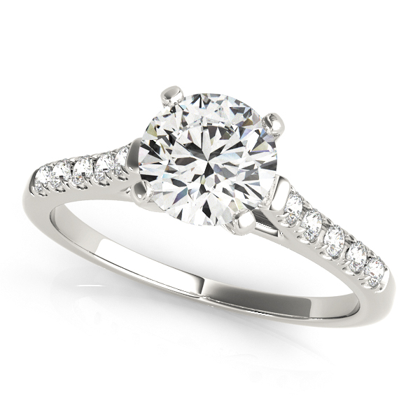 Side Stone Bridge Engagement Ring Round Cut Diamonds Prong Setting