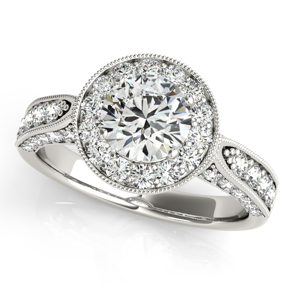 Popular Runway Engagement Ring Vintage Filigree & Pretty Halo