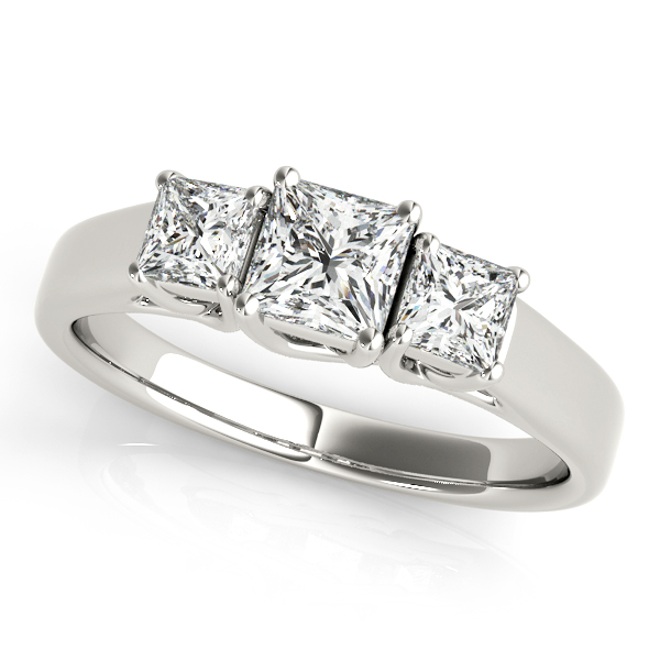 Extravagant Princess Cut Diamond Three Stone Trellis Engagement Ring