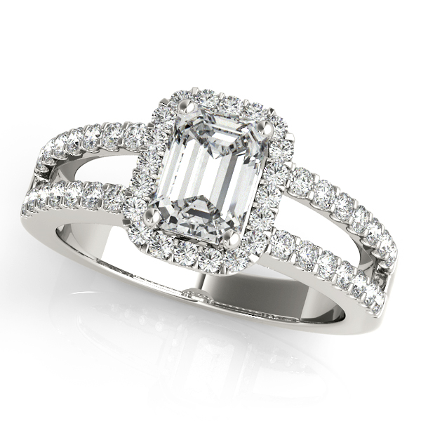 Lavish Emerald Cut Halo Engagement Ring with Split Shank