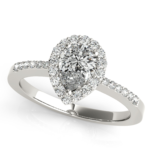 Sophisticated Pear Shaped Halo Diamond Engagement Ring