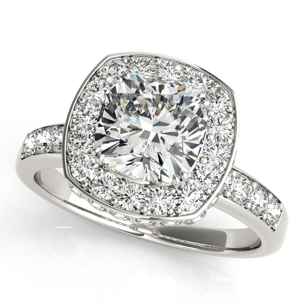 Antique Style Engagement Ring with Cushion Cut Diamond Halo