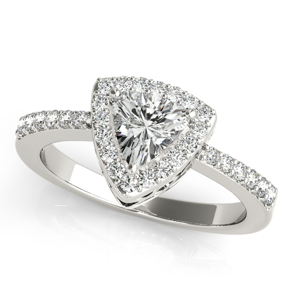 Rare Trillion Halo Diamond Engagement Ring Triangle Diamond