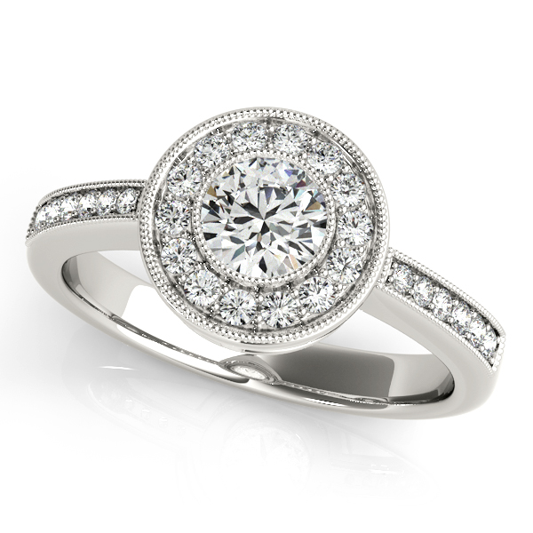Intricate Bezel Halo Diamond Engagement Ring with Filigree