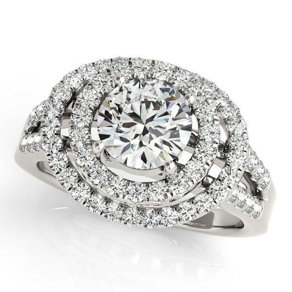 Distinctive Curved & Spaced Halo Diamond Engagement Ring