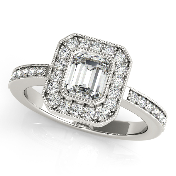 Newfangled Emerald Cut Halo Engagement Ring with Side Stones