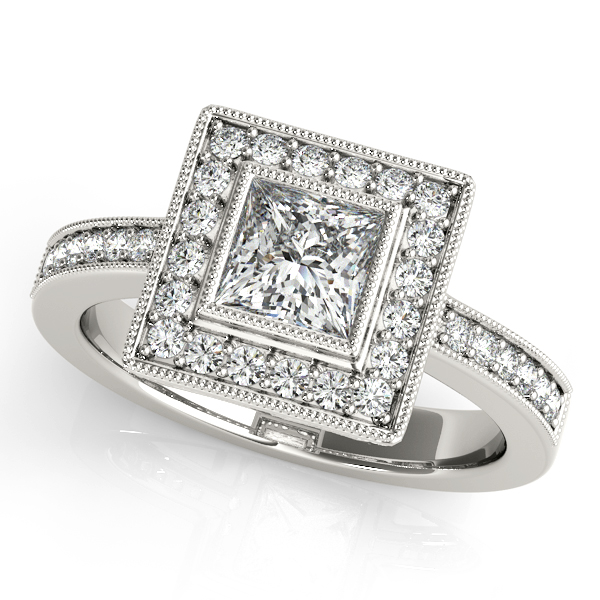 Upscale Cushion Cut Diamond Side Stone Engagement Ring