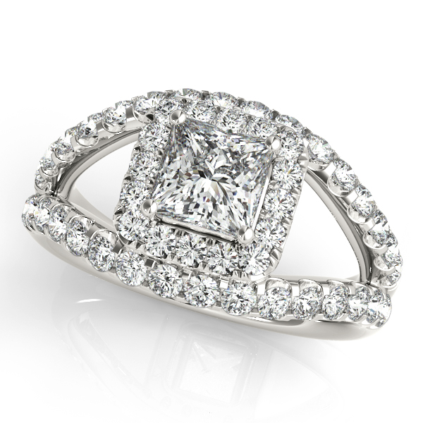 Incomparable Split Shank Princess Cut Halo Engagement Ring