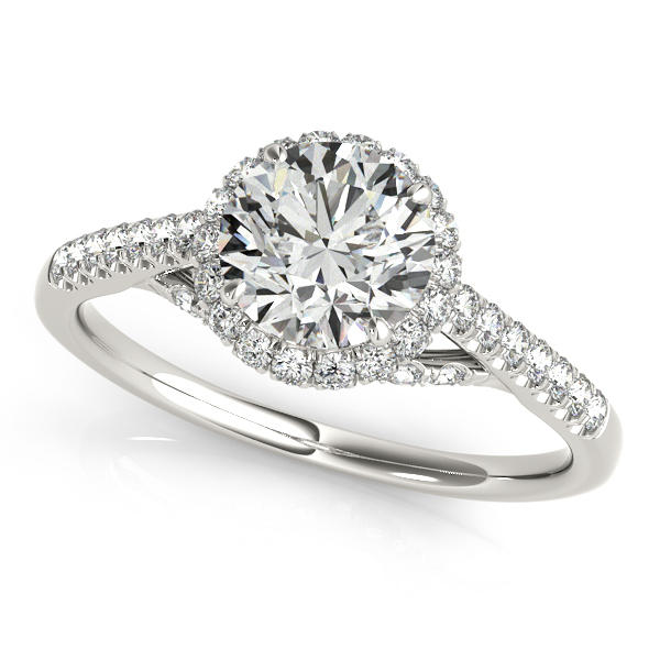 Fancy Three-Tier Halo Engagement Ring with Round Cut Diamonds