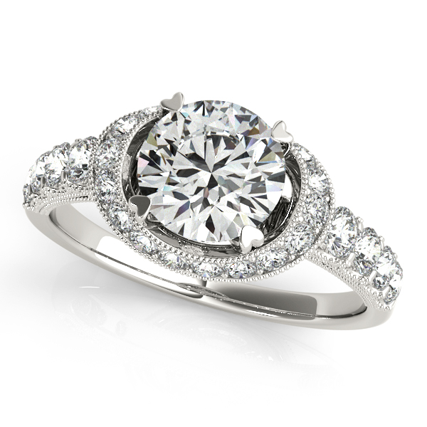Charming Curved Shank Halo Engagement Ring with Diamond Scarf