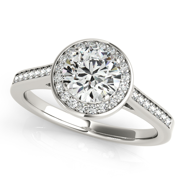 Unequaled Round Halo Engagement Ring Beautiful Accent Stones