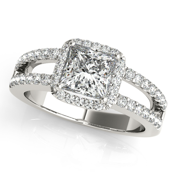 Avant-Garde Halo Engagement Ring Princess Cut Diamond