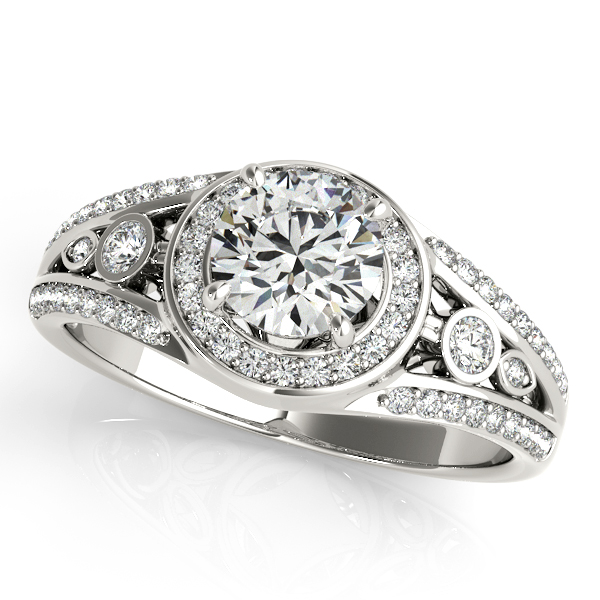 V-Shaped Split Shank Art Deco Halo Engagement Ring Bezel