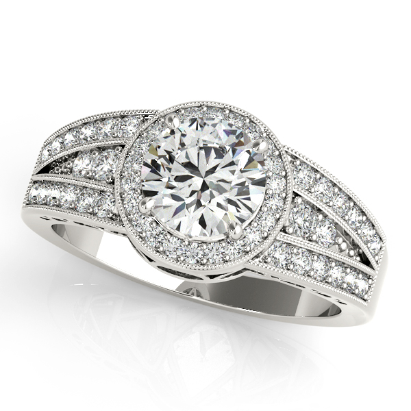Art Deco Diamond Halo Engagement Ring Three Row V-Shaped