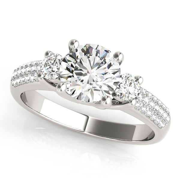 Fashion-Forward Three Stone Engagement Ring with Side Stones