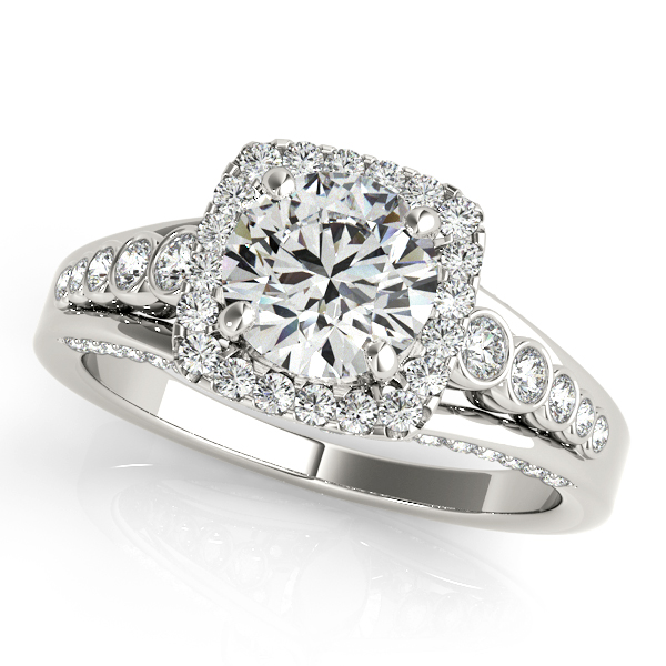 Singular Triplet Side Stone Halo Diamond Engagement Ring