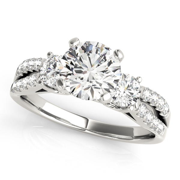 Modern Split Shank Three Stone Engagement Ring Prong Setting