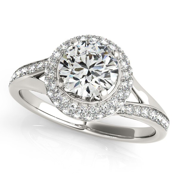 Unequaled Duet Halo Engagement Ring with Slanted Side Stones