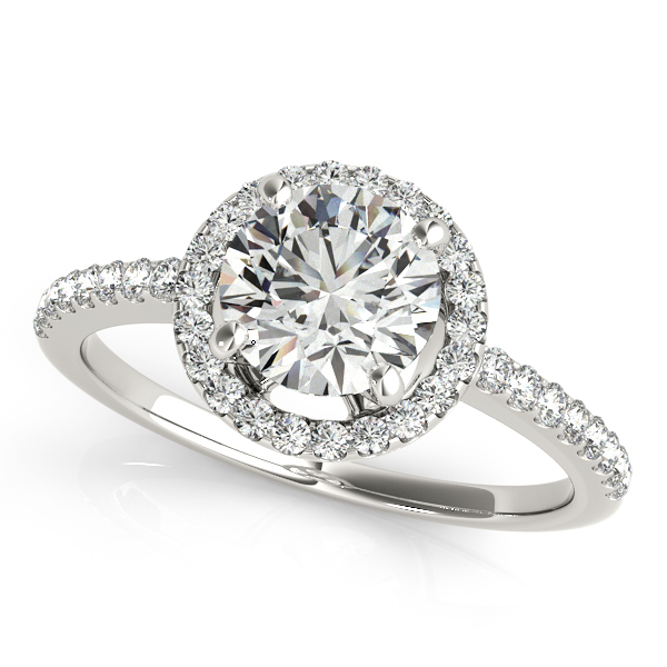 Gorgeous Halo Engagement Ring with Diamond Side Stones