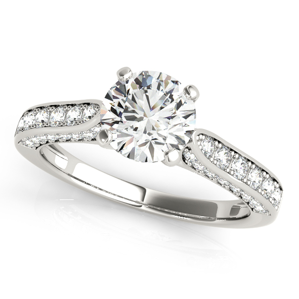 Elegant Side Stone Engagement Ring Three Rows of Diamonds