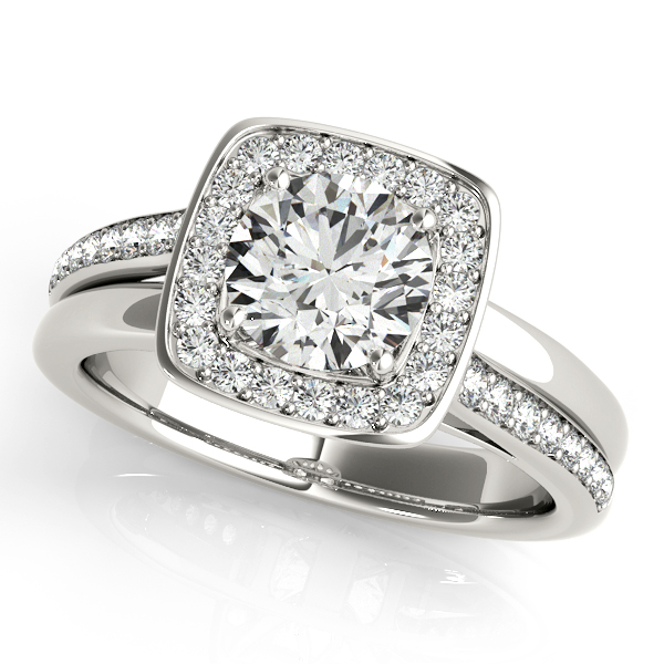 Modern Halo Engagement Ring with Split Shank & Accent Diamonds