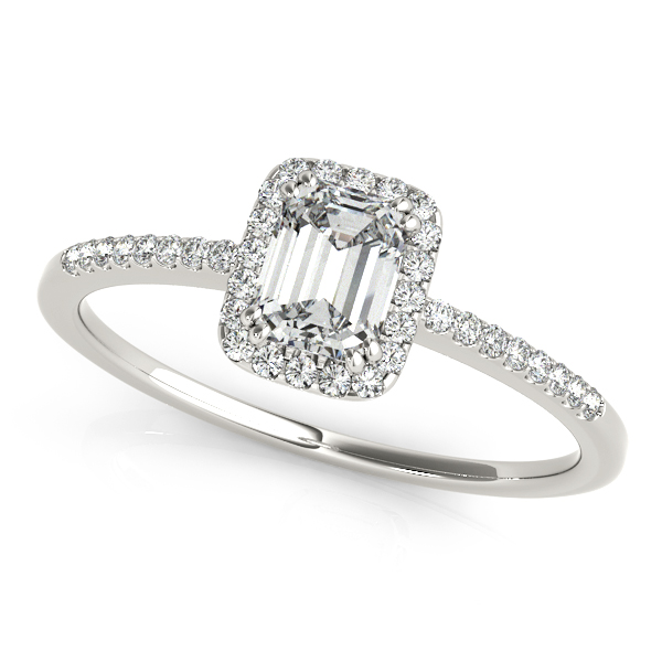 Good-Looking Side Stone Engagement Ring with Emerald Cut Halo