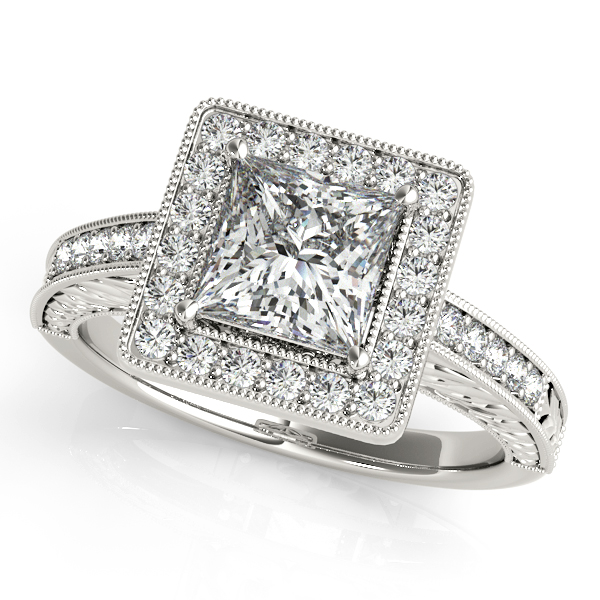 Bold Square Halo Engagement Ring Pretty Princess Cut Diamond