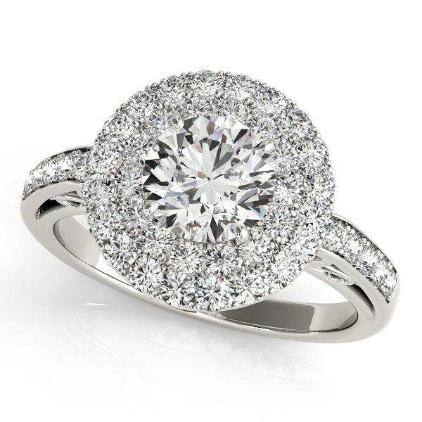Peculiar Quintet Halo Engagement Ring with Diamond Side Stones
