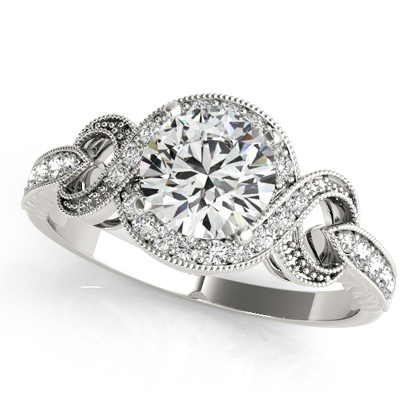 Extraordinary Infinity Halo Engagement Ring with Vintage Filigree