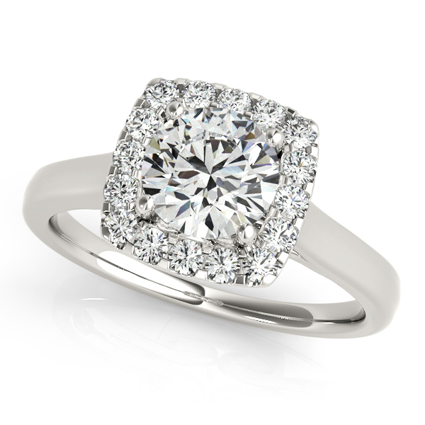 Beautiful Halo Engagement Ring Stylish Round Cut Diamonds