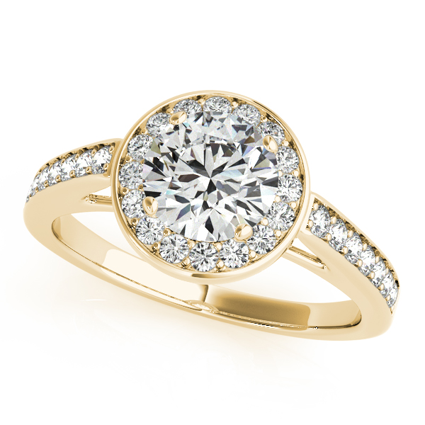 Modern Cathedral Diamond Halo Engagement Ring in 14K Gold