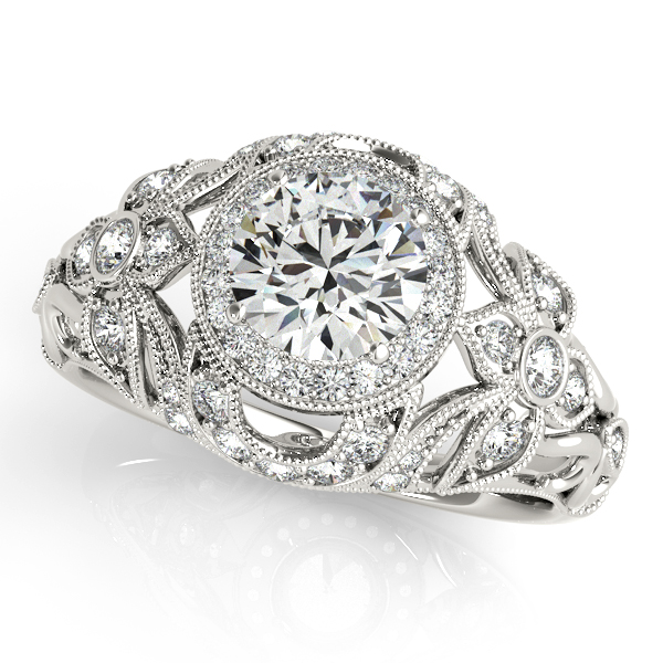 Royal Antique Engagement Ring with Unusual Accent Diamonds