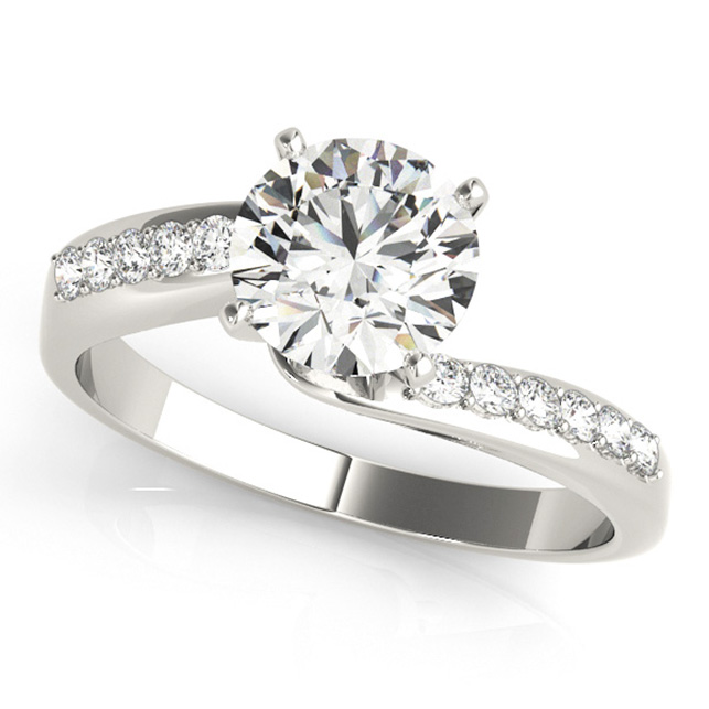 Stylish Round Cut Side Stone Bypass Diamond Engagement Ring