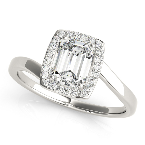 Emerald Cut Engagement Ring with Emerald Cut Diamond Bypass