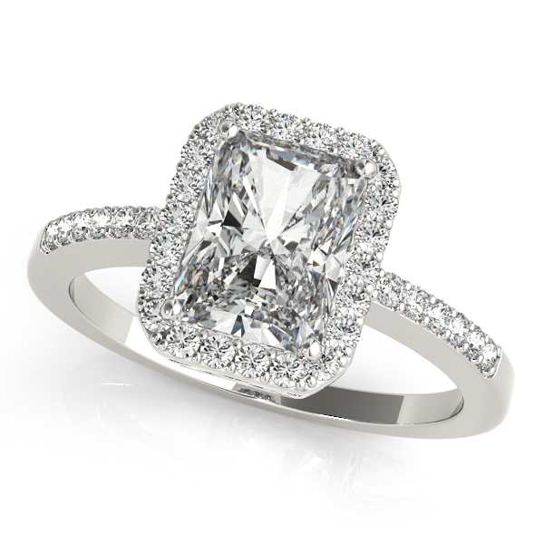 Avant-Garde Emerald Cut Halo Diamond Engagement Ring