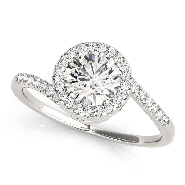 Lovely Halo Diamond Engagement Ring Modern Curved Bypass