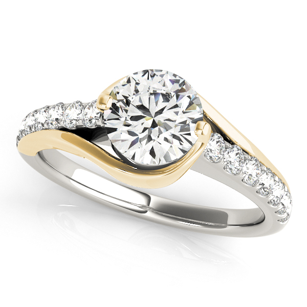 Modern Diamond Engagement Ring with Unique Curved Design