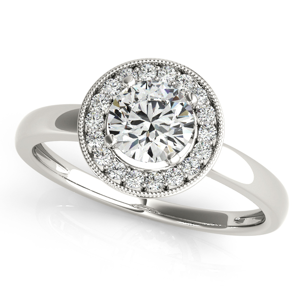 Fancy Round Halo Engagement Ring