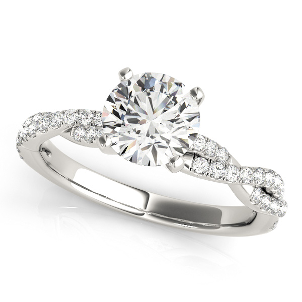 Twist Shank Infinity Side Stone Diamond Engagement Ring