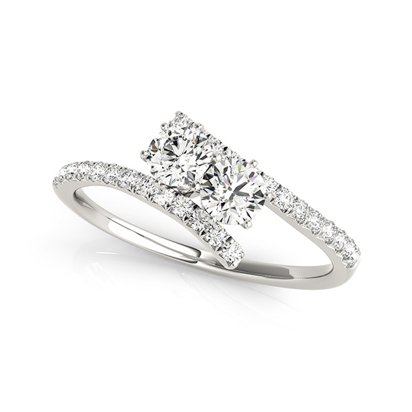 Stylish Two Stone Bypass Engagement Ring