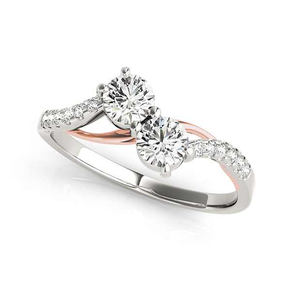 Two Stone Engagement Ring with Rose & White Gold